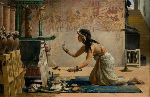 Egipska kapłanka oddająca cześć bogu-kotu na XIX-wiecznym malowidle. Zapewne w międzyczasie oddawania swojego ciała szukającym uciech pielgrzymom...