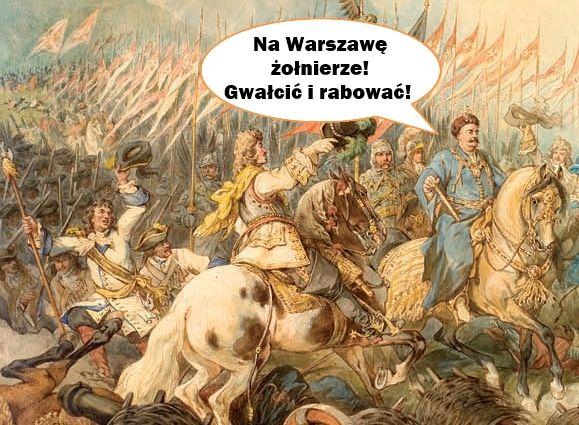 Wstydliwego epizodu, kiedy to wojska pod komendą Sobieskiego ruszyły na własną stolicę nikt nie sportretował. Możemy sobie tylko wyobrażać, że wyglądało to mniej więcej tak.... (na ilustracji bitwa wiedeńska pędzla Juliusza Kossaka).