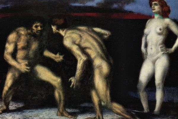 Bój o kobietę? Bez sensu! Przecież żonę można pożyczyć od kolegi (Franz Von Stuck, Walka o kobietę).