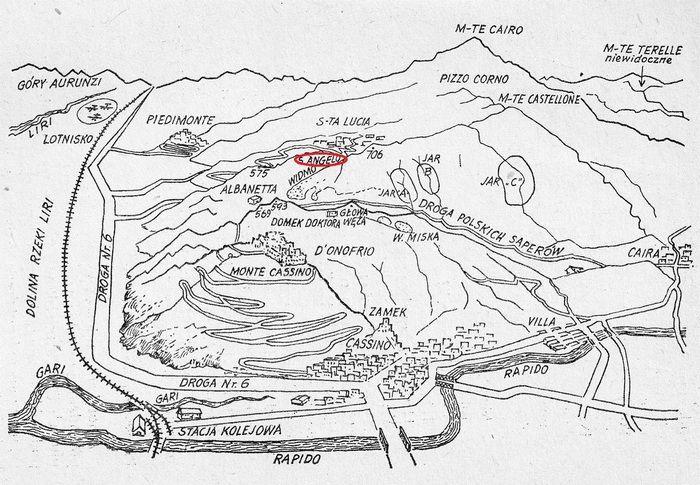 Szkic przedstawiający pole bitwy o Monte Cassino polskimi oczyma, z zaznaczoną Górą Anioła Śmierci.