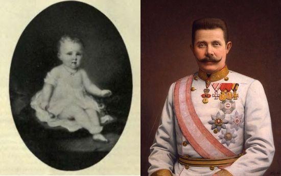 """""""Franzi był w złym humorze"""" zanotował cesarz Franciszek Józef po spotkaniu ze swoim bratankiem. Po lewej mały Franzi, po prawej już całkiem duży Franciszek Ferdynand Habsburg."""