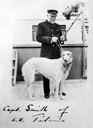 Kapitan Titanica Edward Smith ze swoim psem.