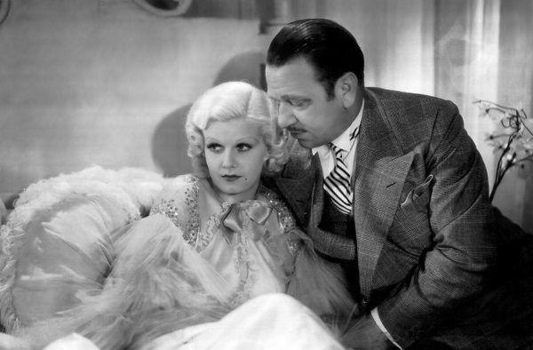 "Jean Harlow i John Barrymore na planie ""Kolacji o ósmej (1933)."