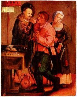 """""""Wieśniak u dentysty"""" na XVII-wiecznym obrazie."""