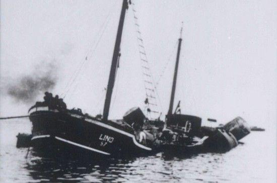 """Po początkowych niepowodzeniach Izraelczycy w końcu dopięli swego: parowiec """"Lino"""" poszedł na dno."""
