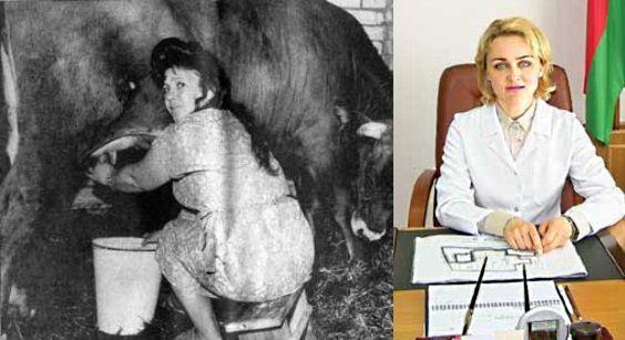 Po lewej Galina Rodionowna dojąca ulubioną krowę. Po prawej Irina Abelskaja, która zastąpiła ją u boku prezydenta.