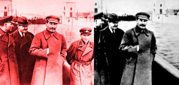 To zdjęcie pokazuje, jak niewiele dzieliło w ZSRR triumf i upadek. Na fotografii z lewej Jeżow w pełni władzy i potęgi, u boku samego Stalina. Obok to samo zdjęcie odpowiednio wyretuszowane po jego upadku. Był człowiek, nie ma człowieka.