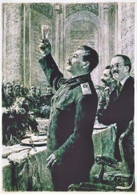 Józef Stalin wznosi toast. Podczas kremlowskich biesiad wychylał kielichy przedniego gruzińskiego wina.