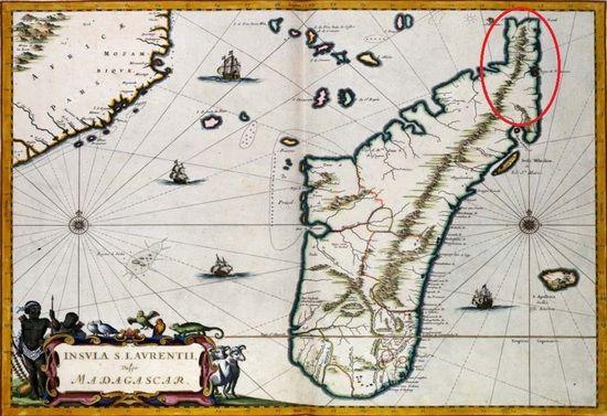 Piracka mapa Madagaskaru z zaznaczonym obszarem, na którym miało się znajdować pirackie państwo idealne - Libertatia.