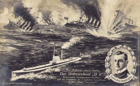 Niemiecka kartka pocztowa upamiętniająca spektakularny sukces Otto Weddigenga i jego załogi.