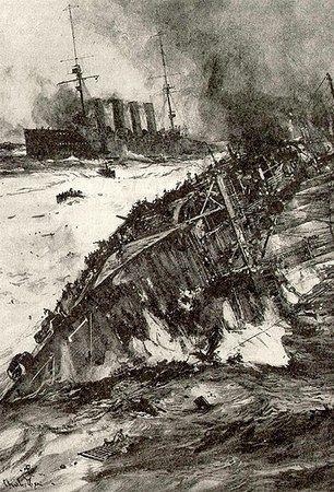 """Gdy HMS """"Hogue"""" ruszył na ratunek załodze tonącego HMS """"Aboukir"""" jego również dosięgły niemieckie torpedy."""