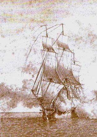 """Drogę do sławy Missonowi otwarła pojedyncza salwa angielskiego statku """"Wichelsea"""", która zabiła wszystkich oficerów na """"La Victoire""""."""
