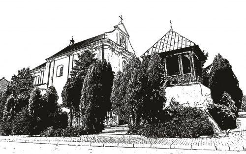 Miejsce akcji: Łęczyszyce. Na ilustracji XVIII-wieczny kościół z dzwonnicą.