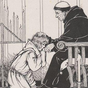 Średniowieczny braciszek i skruszona kobieta.