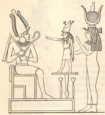 """Egipska """"święta rodzina"""" - Izyda, Ozyrys i Horus."""