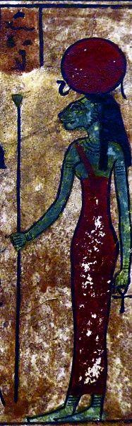 Egipska bogini Tefnut, która została wypluta przez swojego ojca. (zdjęcie opublikowane na licencji CCA-SA 3.0, autor: Mbzt)