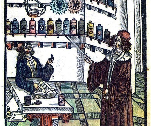 """Aptekarz i medyk. Ilustracja z wczesnonowożytnej księgi """"Medicinarius. Książka o sztuce destylowania leków prostych i złożonych""""."""