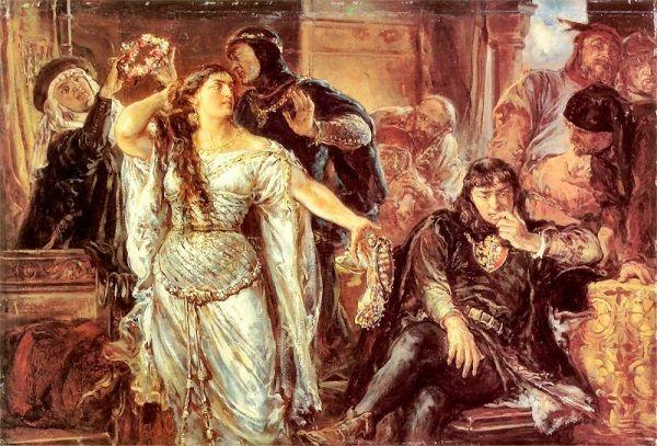 Oddawanie narzeczonej pod opiekę Gryfiny, wdowy po Leszku Czarnym, nie było najszczęśliwszym pomysłem, zważywszy na to, co mogła wbić do głowy młodziutkiej królewnie. Gryfina nie stanowiła wzoru uległej żony, a z mężem szczerze się nie znosili, nie omieszkując publicznie tego okazywać. (obraz przedstawia ich kłótnię małżeńską).