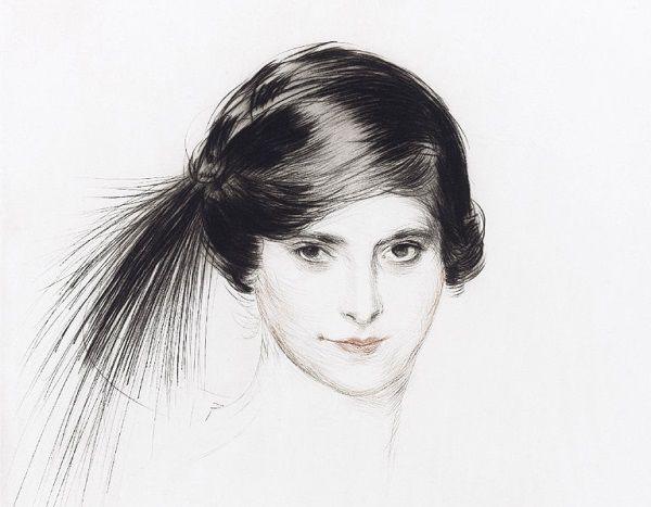 Młodziutka Helena Rubinstein widziana okiem francuskiego malarza Paula Césara Helleu. Madame Rubinstein uwielbiała własne portrety. Z największych sław tylko Picassa nie udało jej się zmusić, by ją uwiecznił.