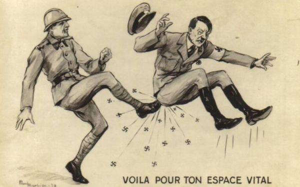 Francuski rysownik wykopuje Hitlera... 1939 rok.