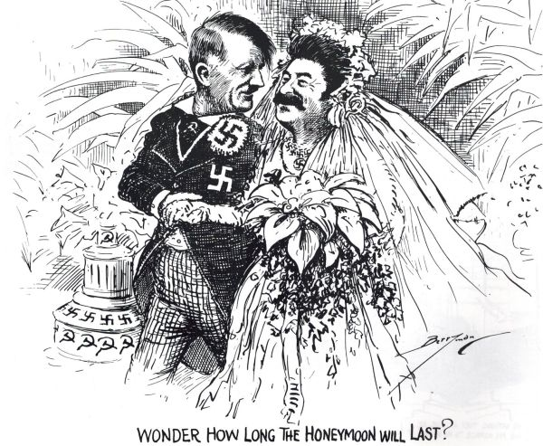 Hitler ożenił się dopiero w 1945 roku? Nie według tego rysunku satyrycznego z 1939 roku...