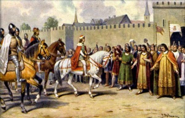 Waclaw II wjeżdżający do Pragi w 1282 r.Po tym, jak ożenił się z Ryksą, długo już nie pożył.