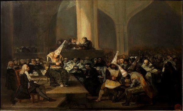 """""""Trybunał inkwizycji"""", obraz Francisco de Goyi."""