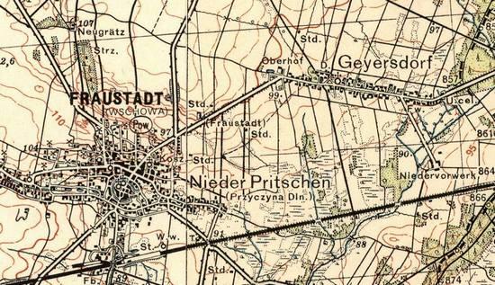 Mapa sztabowa z zaznaczonymi miejscowościami Geyersdorf oraz Fraustadt, które to stały się celem polskiego ataku 2 września 1939 r,