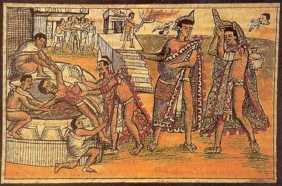 """Ilustracja z działa Diega Durana pt. """"Histoire des Indiens. Sacrifice Humain"""" z 1579 r. przedstawiająca krwawą ceremonię. W tym przypadku ofiarę trzyma tylko trzech kapłanów, a czwarty wyrywa jej serce."""
