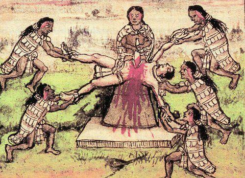 Zdaniem Azteków krew ich ofiar miała zapewnić pożywienia Słońcu, które jej potrzebowało, aby móc poruszać się po niebie.
