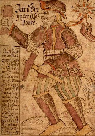 Wyobrażenie Thora pochodzące z XVIII-wiecznego islandzkiego manuskryptu. Trzymany przez niego Mjollnir miał być zdaniem Himmlera cudowną bronią, opartą o elektryczność. która pokona aliantów.