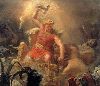 """""""Thot walczy z gigantami"""" obraz Mårtena Eskila Winge. W ręku nordyckiego boga oczywiście niełączny Mjollnir."""