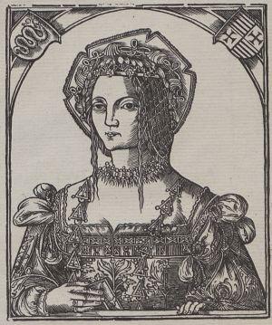 Bona Sforza na drzeworycie z 1521 roku.