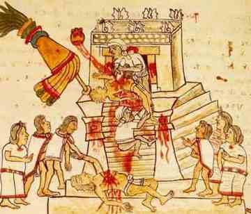 Ofiary z ludzi u Azteków miały bardzo krwawy charakter. Trzeba jednak pamiętać, że tego typu ofiary były charakterystyczne dla całej Mezoameryki.