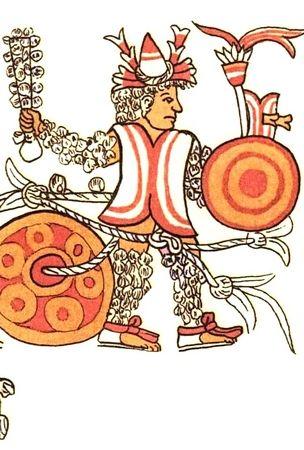 """Wojownik-ofiara gotowy do walki. Tak przynajmniej przedstawiał go XVI-wieczny """"Codex Magliabechiano""""."""