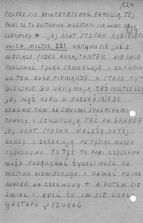 Za wysyłanie donosów do gestapo kodeks przewidywał karę śmierci.