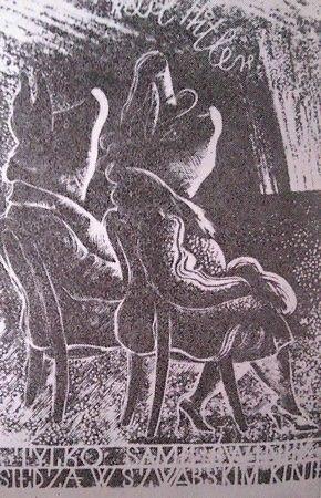 Podczas okupacji bardzo źle widziane było chodzenie do kina o czym świadczy np. ta karykatura.