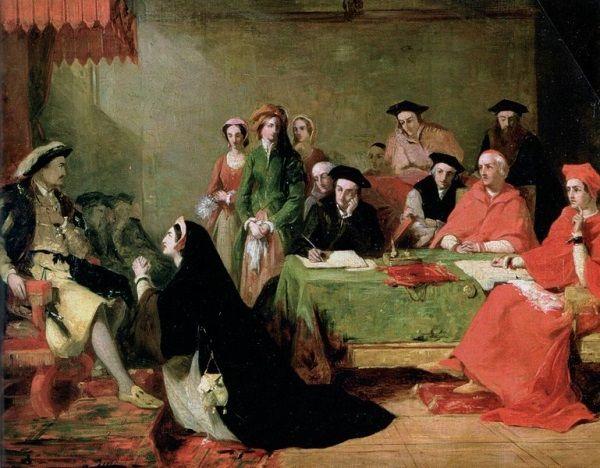 Urzędnicy Henryka nie odstępowali go nawet na krok, nawet w chwilach gdy Katarzyna Aragońska padała do jego nóg błagając o zmiłowanie...
