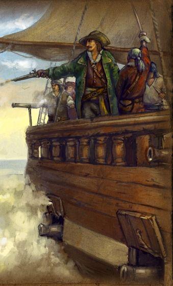 """Piękne jest życie pirata? Tylko w filmach... i grach (fragment grafiki promującej grę """"Age of Pirates II"""")."""