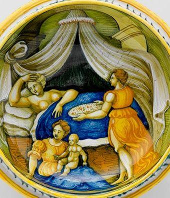 Poród w renesansowej Italii.