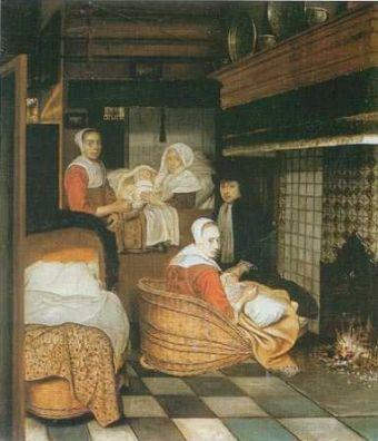 """""""Scena rodzinna z noworodkiem"""" Esaiasa Boursse (1665-1670)."""