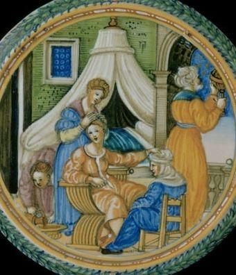 Stołek porodowy. Renesansowe przedstawienie aktu narodzin.