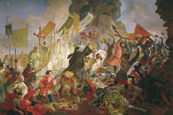 """Stefan Batory wysłał oddział Radziwiłła, aby ten narobił jak najwięcej zamieszania na tyłach wroga. Sam tymczasem szykował się do wyruszenia na Psków. Powyżej obraz Karła Briułłowa """"Bitwa pod Pskowem""""."""