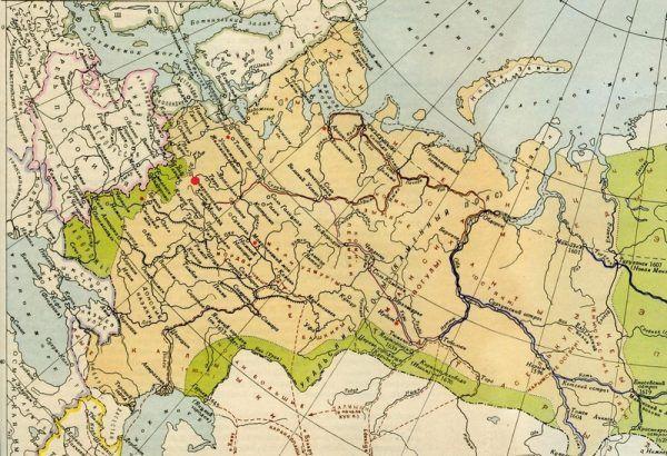 Starica zaznaczona czerwoną kropką na mapie Rosji przedstawiającej państwo w początkach XVII wieku.