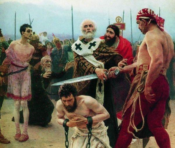 Święty Mikołaj z Miry ratuje skazanych na śmierć. Obraz z XIX wieku.
