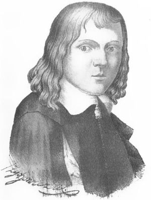 Stanisław Orzechowski na XIX-wiecznym, rzecz jasna zmyślonym portrecie. To ten pan chwalił sadyzm Kazimierza Jagiellończyka.