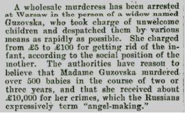 """Informacja o zbrodni niejakiej Guzowskiej na łamach """"Wanganui Herald"""" (numer z 26 maja 1903)."""