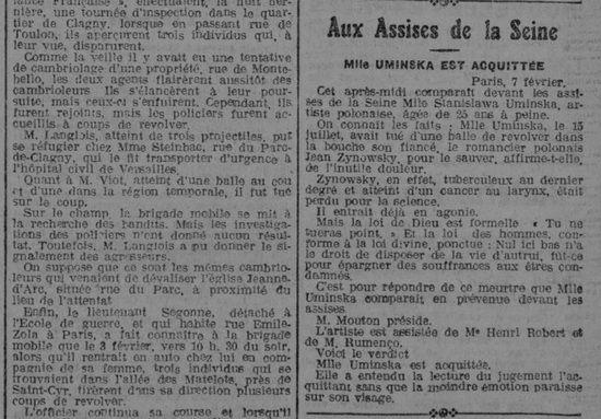 """Proces Umińskiej trafił na pierwsze strony wielu francuskich gazet. Pisał o nim również dziennik """"L'Express Du Midi"""" w numerze z 8 lutego 1925 roku."""
