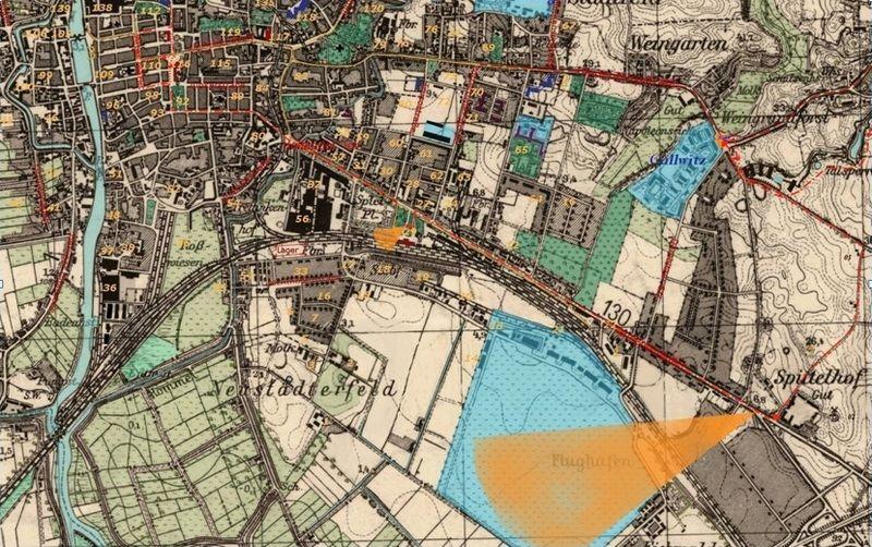 """Mapa z zaznaczoną trasą rajdu kapitana Diaczenki. Plan opublikowany pierwotnie w książce Tomasza Stężały, """"Elbing 1945. Odnalezione wspomnienia"""" (IW Erica 2010)."""