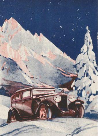 """Idealny prezent na długie, zimowe wieczory? Samochód pełen słodzika! (ilustracja okładkowa magazynu """"Auto"""" z 1929 roku)."""
